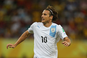 Diego Forlan of Uruguay in action during the FIFA Confederations Cup Brazil 2013 Group B match between Spain and Uruguay at the Arena Pernambuco on June 16, 2013 in Recife, Brazil.