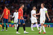 Sergio Ramos of Spain and Harry Kane of England argue during the UEFA Nations League A Group Four match between Spain and England at Estadio Benito Villamarin on October 15, 2018 in Seville, Spain.