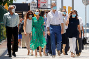 Queen Letizia of Spain, King Felipe of Spain and President of the Government of the Balearic Islands Francina Armengol take a walk with local authorities on promenade of Platja de s'Arenal on June 25, 2020 in Palma de Mallorca, Spain. This trip is part of a royal tour that will take King Felipe and Queen Letizia through several Spanish Autonomous Communities with the objective of supporting economic, social and cultural activity after the Coronavirus outbreak.