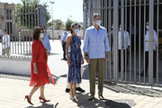 Government spokesperson and Finance Minister Maria Jesus Montero, Queen Letizia of Spain and King Felipe of Spain during a visit to the Tres Mil Viviendas neighborhood on June 29, 2020 in Seville, Spain. This trip is part of a royal tour that will take King Felipe and Queen Letizia through several Spanish Autonomous Communities with the objective of supporting economic, social and cultural activity after the Coronavirus outbreak.