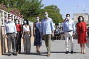 [Center] Queen Letizia of Spain and King Felipe of Spain and [R] Government spokesperson and Finance Minister Maria Jesus Montero during a visit to the Tres Mil Viviendas neighborhood on June 29, 2020 in Seville, Spain. This trip is part of a royal tour that will take King Felipe and Queen Letizia through several Spanish Autonomous Communities with the objective of supporting economic, social and cultural activity after the Coronavirus outbreak.