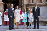 (L-R) King Juan Carlos, Queen Sofia, Princess Sofia of Spain, Queen Letizia of Spain, Princess Leonor of Spain and King Felipe VI of Spain attend the Easter mass on April 1, 2018 in Palma de Mallorca, Spain.