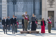 (L-R) Fernando Grande-Marlaska, Pedro Sanchez, King Felipe VI of Spain, Queen Letizia of Spain and Margarita Robles attend New Year Military Parade 2019 celebration at Royal Palace on January 06, 2019 in Madrid, Spain.