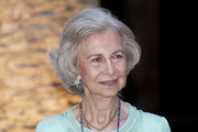 Queen Sofia hosts a dinner for authorities at the Almudaina Palace on August 07, 2019 in Palma de Mallorca, Spain.