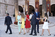 King Felipe VI of Spain (R), Queen Letizia of Spain (C) and Queen Sofia (L) host a dinner for authorities at the Almudaina Palace on August 07, 2019 in Palma de Mallorca, Spain.