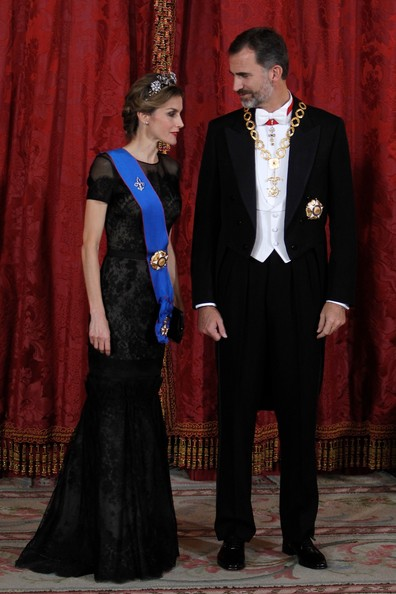 King Felipe VI of Spain and Queen Letizia of Spain receive Chilean President Michelle Bachelet for a Gala dinner at the Royal Palace on October 29, 2014 in Madrid, Spain.