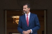King Felipe VI of Spain receives Chilean President Michelle Bachelet at the Zarzuela Palace on October 29, 2014 in Madrid, Spain.