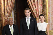 King Felipe VI of Spain (C) and Queen Letizia of Spain (R) receive Prime Minister of Portugal Antonio Costa (L) because of the United Nations conference for the Climate Summit 2019 (COP25) at the Royal Palace on December 02, 2019 in Madrid, Spain.