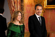 Spanish Foreign Minister Trinidad Jimenez and Spanish President Jose Luis Rodriguez Zapatero attend the annual Foreign Ambassadors Reception, at The Royal Palace, on January 18, 2011 in Madrid, Spain.