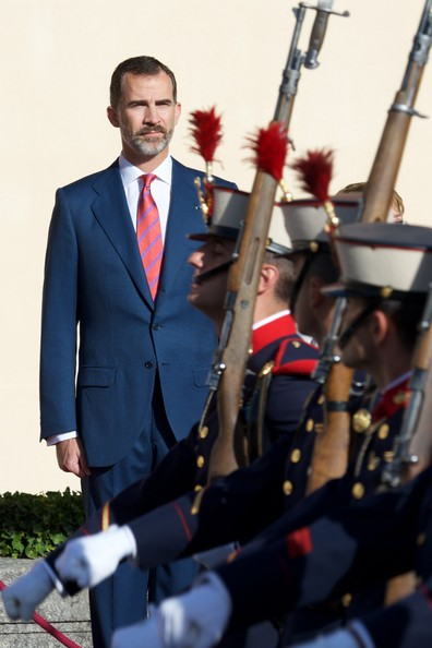 King Felipe VI of Spain receives Chilean President Michelle Bachelet at the El Pardo Palace on October 29, 2014 in Madrid, Spain.