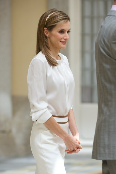 Queen Letizia of Spain attends a reception to members of the 'Ruta Quetzal BBVA 2014' expedition at El Pardo Palace on July 21, 2014 in Madrid, Spain.