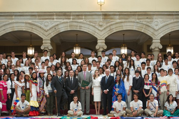 King Felipe VI of Spain and Queen Letizia of Spain (C) attend a reception to members of the 'Ruta Quetzal BBVA 2014' expedition at El Pardo Palace on July 21, 2014 in Madrid, Spain.