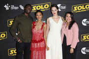 (L-R) Nathan Lloyd, Thandie Newton, Phoebe Waller-Bridge and Maria Moss attend special BFI screening of 'Solo: A Star Wars Story' to celebrate the film's BFI Film Academy trainees at BFI Southbank on May 23, 2018 in London, England.