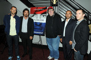 (L-R) Producer John Battsek, actor Josh Brolin, filmmaker Michael Moore, director Amir Bar-Lev and former soldier Russell Baer attend a discussion following a special screening of The Weinstein Company's The Tillman Story at AMC Loews Lincoln Square 13 on August 11, 2010 in New York City.