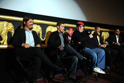 (L-R) Actor Josh Brolin, former soldier Russell Baer, filmmaker Michael Moore, producer John Battsek and director Amir Bar-Lev participate in a discussion following a special screening of The Weinstein Company's The Tillman Story at AMC Loews Lincoln Square 13 on August 11, 2010 in New York City.