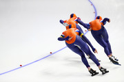 Sven Kramer, Jan Blokhuijsen and Patrick Roest of the Netherlands compete during the Speed Skating Men's Team Pursuit Semifinal 2 on day 12 of the PyeongChang 2018 Winter Olympic Games at Gangneung Oval on February 21, 2018 in Gangneung, South Korea.