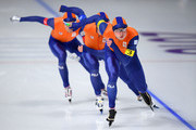 Sven Kramer, Jan Blokhuijsen and Patrick Roest of the Netherlands compete during the Speed Skating Men's Team Pursuit Semifinal 2 against Norway on day 12 of the PyeongChang 2018 Winter Olympic Games at Gangneung Oval on February 21, 2018 in Gangneung, South Korea.