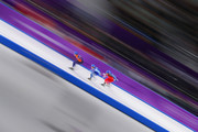 Sven Kramer of the Netherlands, Sverre Lunde Pedersen of Norway and Livio Wenger of Switzerland compete during the Men's Speed Skating Mass Start Semifinal 2 on day 15 of the PyeongChang 2018 Winter Olympic Games at Gangneung Oval on February 24, 2018 in Gangneung, South Korea.