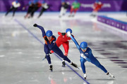 Jaewon Chung of Korea, Sven Kramer of the Netherlands and Livio Wenger of Switzerland compete during the Men's Speed Skating Mass Start Semifinal 2 on day 15 of the PyeongChang 2018 Winter Olympic Games at Gangneung Oval on February 24, 2018 in Gangneung, South Korea.