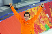 Stefan Groothuis of the Netherlands celebrates winning the Men's 1000m Speed Skating event during day 5 of the Sochi 2014 Winter Olympics at at Adler Arena Skating Center on February 12, 2014 in Sochi, Russia.