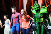 """T.V. Carpio, Reeve Carney, Jennifer Damiano and Patrick Page on stage at """"Spider-Man Turn Off The Dark"""" Broadway opening night at Foxwoods Theatre on June 14, 2011 in New York City."""