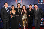 """(L-R)Patrick Page,T.V. Carpio,Reeve Carney,Jennifer Damiano,Bono and The Edge attend """"Spider-Man Turn Off The Dark"""" Broadway opening night at Foxwoods Theatre on June 14, 2011 in New York City."""