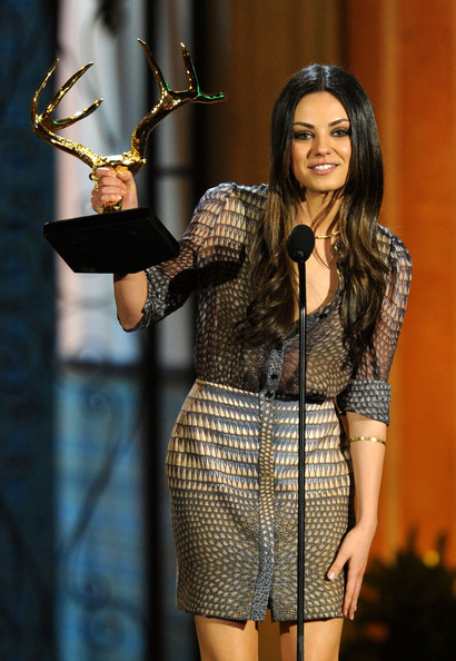 "Actress Mila Kunis accepts the Holy Grail of Hot award onstage during Spike TV's 5th annual 2011 ""Guys Choice"" Awards at Sony Pictures Studios on June 4, 2011 in Culver City, California."