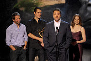 (L-R) Director Zack Snyder and actors Henry Cavill, Russell Crowe, and Amy Adams speak onstage during Spike TV's Guys Choice 2013 at Sony Pictures Studios on June 8, 2013 in Culver City, California.
