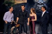 (L-R) Director Zack Snyder, actors Henry Cavill, Amy Adams, and Russell Crowe speak onstage during Spike TV's Guys Choice 2013 at Sony Pictures Studios on June 8, 2013 in Culver City, California.