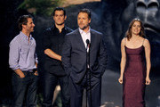 (L-R) Director Zack Snyder and actors Henry Cavill, Russell Crowe and Amy Adams speak onstage during Spike TV's Guys Choice 2013 at Sony Pictures Studios on June 8, 2013 in Culver City, California.