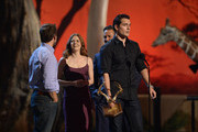 (L-R) Director Zack Snyder, actors Amy Adams, Russell Crowe, and Henry Cavill speak onstage during Spike TV's Guys Choice 2013 at Sony Pictures Studios on June 8, 2013 in Culver City, California.