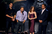 (L-R) Actor Henry Cavill, director Zack Snyder, and actors Amy Adams and Russell Crowe speak onstage during Spike TV's Guys Choice 2013 at Sony Pictures Studios on June 8, 2013 in Culver City, California.