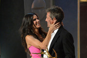 "Actors Sandra Bullock and Hugh Grant onstage at Spike TV's ""Guys Choice 2014"" at Sony Pictures Studios on June 7, 2014 in Culver City, California."