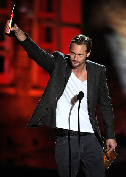 "Actor Alexander Skarsgard accepts the Best Horror Actor award onstage during Spike TV's ""Scream 2010"" at The Greek Theatre on October 16, 2010 in Los Angeles, California."