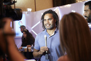 Christian Karembeu interviewed by media at the Sportel Asia Conference on March 15, 2016 in Singapore.