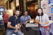VIP Guests Fernando Sanz, Christian Karembeu, Shen Yanfei at the Laliga booth at the Sportel Asia Conference on March 15, 2016 in Singapore.