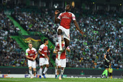 Danny Welbeck of Arsenal FC celebrates  after scoring his team's first goalduring the UEFA Europa League Group E match between Sporting CP and Arsenal at Estadio Jose Alvalade on October 25, 2018 in Lisbon, Portugal.