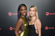 """Justine Skye and Hailey Baldwin attend """"Spotify's Best New Artist Party"""" at Skylight Clarkson on January 25, 2018 in New York City."""