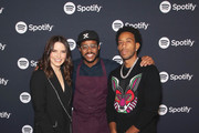 (L-R) Sophia Bush, Chef Kwame Onwuachi and Ludacris pose for a photo at the Spotify Supper during CES 2020 at Hakkasan Las Vegas Restaurant and Nightclub at MGM Grand Hotel & Casino on January 07, 2020 in Las Vegas, Nevada.