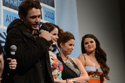 """Actor James Franco, actress Rachel Korine, actress Ashley Benson and actress Selena Gomez speak at the Q & A for """"Spring Breakers"""" during the 2013 SXSW Music, Film + Interactive at the Paramount Theatre on March 10, 2013 in Austin, Texas."""