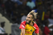 In this handout image provided by CPL T20, Imran Tahir of Guyana Amazon Warriors celebrates the dismissal of Devon Thomas of St Kitts & Nevis Patriots during match 19 of the Hero Caribbean Premier League between St Kitts & Nevis Patriots and Guyana Amazon Warriors at the Warner Park Sporting Complex on August 25, 2018 in Basseterre, St Kitts, Saint Kitts And Nevis.