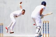 Stuart Broad (L) of England bowls at Jonny Bairstow batting for St Kitts during day one of the 2nd Invitational Warm Up  match between St Kitts and Nevis and England at Warner Park on April 8, 2015 in Basseterre, St Kitts, Saint Kitts and Nevis.