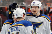 Colton Parayko #55 of the St. Louis Blues celebrates his goal with teammate Vladimir Tarasenko #91 of the St. Louis Blues in the third period against the Philadelphia Flyers on January 6, 2018 at Wells Fargo Center in Philadelphia, Pennsylvania.The Philadelphia Flyers defeated the St. Louis Blues 6-3.