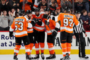 Wayne Simmonds #17 of the Philadelphia Flyers is congratulated by teammates Claude Giroux #28,Shayne Gostisbehere #53,Jakub Voracek #93 and Sean Couturier #14 in the third period against the St. Louis Blues on January 6, 2018 at Wells Fargo Center in Philadelphia, Pennsylvania.The Philadelphia Flyers defeated the St. Louis Blues 6-3.