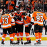 Claude Giroux Jakub Voracek Photos - Wayne Simmonds #17 of the Philadelphia Flyers is congratulated by teammates Claude Giroux #28,Shayne Gostisbehere #53,Jakub Voracek #93 and Sean Couturier #14 in the third period against the St. Louis Blues on January 6, 2018 at Wells Fargo Center in Philadelphia, Pennsylvania.The Philadelphia Flyers defeated the St. Louis Blues 6-3. - St Louis Blues v Philadelphia Flyers