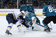 Martin Jones #31 of the San Jose Sharks makes a save on a shot taken by Brayden Schenn #10 of the St. Louis Blues at SAP Center on March 8, 2018 in San Jose, California.