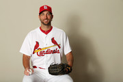 Adam Wainwright #50 poses for a portrait during St Louis Cardinals Photo Day at Roger Dean Stadium on February 20, 2017 in Jupiter, Florida.