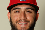 Daniel Poncedeleon #95 poses for a portrait during St Louis Cardinals Photo Day at Roger Dean Stadium on February 20, 2017 in Jupiter, Florida.