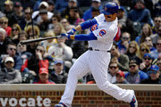 Anthony Rizzo #44 of the Chicago Cubs hits a three run home run in the third inning against the St. Louis Cardinals at Wrigley Field on May 03, 2019 in Chicago, Illinois.