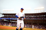 Anthony Rizzo #44 of the Chicago Cubs against the St. Louis Cardinals at Wrigley Field on September 30, 2018 in Chicago, Illinois.